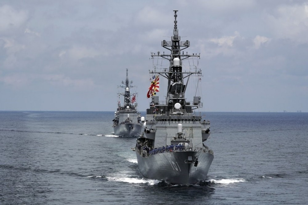 Japanese destroyers Akebono and Murasame take part in a drill off the coast of Brunei. Photo: AP