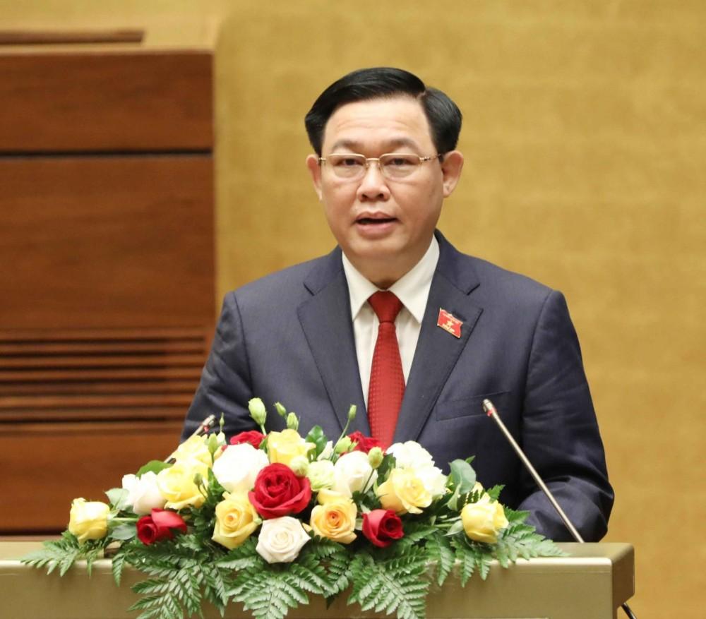 Chủ tịch Quốc hội Vương Đình Huệ phát biểu nhậm chức. Ảnh: Phương Hoa - TTXVN