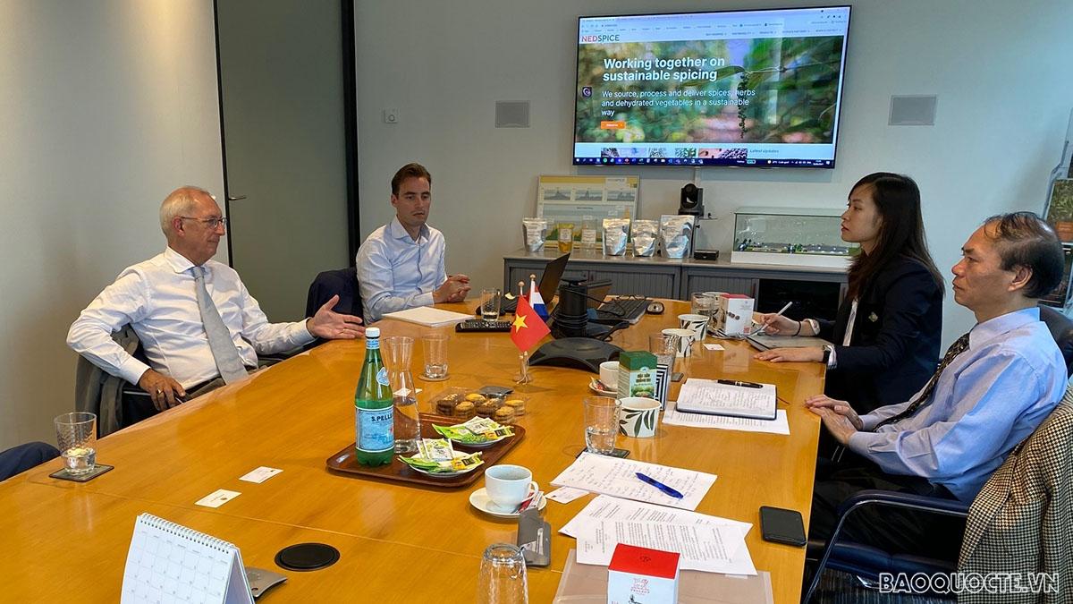 Đại sứ Việt Nam tại Hà Lan Phạm Việt Anh làm việc với đại diện ban lãnh đạo Công ty Nedspice Holding BV