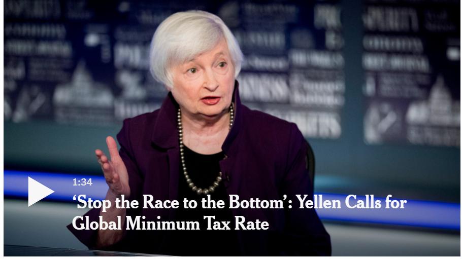 Bộ trưởng Tài chính Janet L. Yellen đã kêu gọi áp dụng mức thuế doanh nghiệp tối thiểu toàn cầu vào thứ Hai để ngăn các công ty trốn thuế, vì chính quyền Biden tập trung vào việc tăng doanh thu ở Hoa Kỳ để trả cho gói cơ sở hạ tầng trị giá hàng nghìn tỷ đô la. (Nguồn: New York Times)