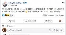 Quang Hải lo sốt vó vì facebook cá nhân bị hacker 'có tâm' hỏi thăm