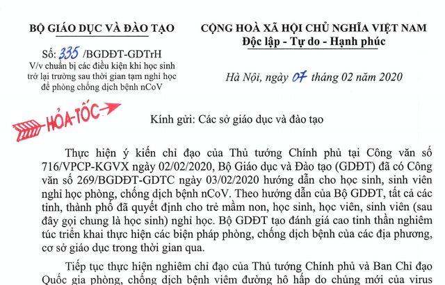Bộ GD&ĐT: Giáo viên cần giao bài tập và hướng dẫn tự học cho học sinh khi nghỉ phòng virus corona