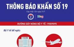 Covid-19: Bộ Y tế ra thông báo khẩn số 19 liên quan đến chuyến bay VN166 và Bệnh viện Đà Nẵng