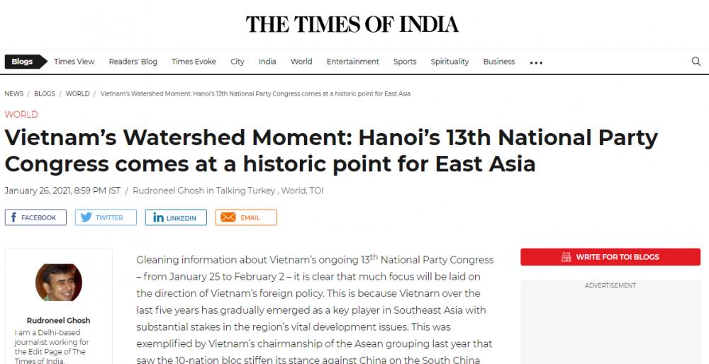 Trang Times of India của Ấn Độ ngày 26/1 đã đưa thông tin về Đại hội XIII của Đảng. (Nguồn: Times of India)