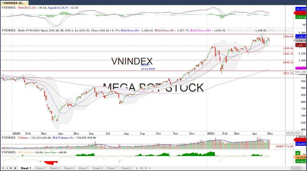 Thị trường chứng khoán ngày 10/5/2021: Đồ thị VN-Inde.x (Nguồn: MegaBot)