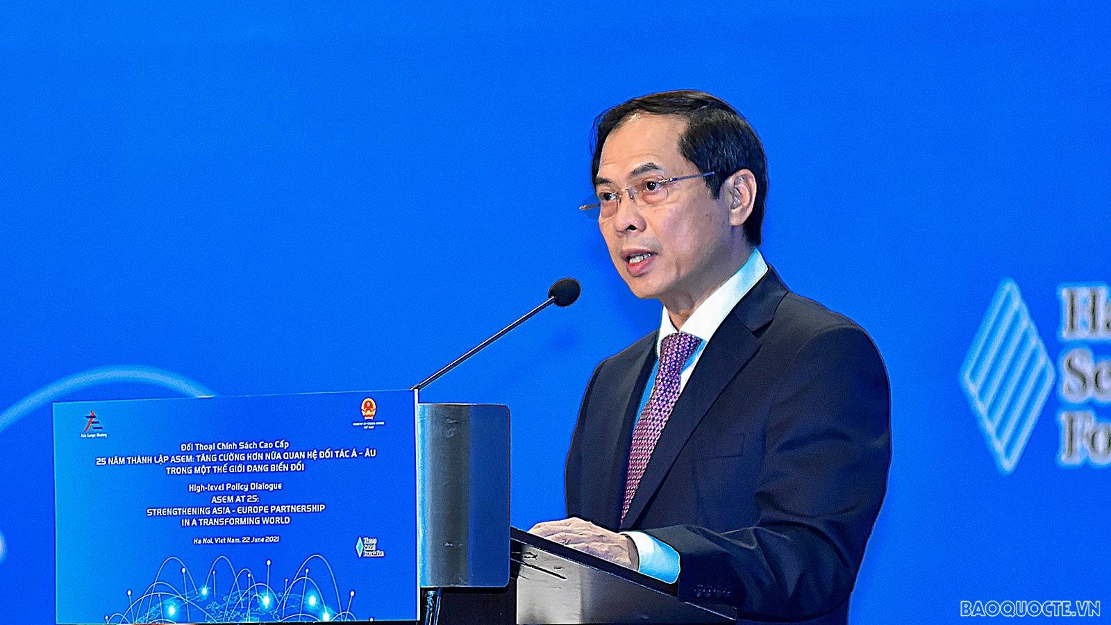 Kỷ niệm 25 năm thành lập ASEM: Bộ trưởng Ngoại giao Bùi Thanh Sơn đề xuất ba mục tiêu lớn mà ASEM cần hướng tới